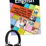 Travel English book cover with headphones