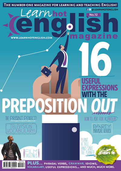 Blue, white, and purple Learn Hot English Magazine cover