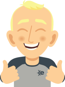 Cartoon man (Andy Avatar) with thumbs up