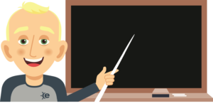 cartoon guy pointing at blackboard