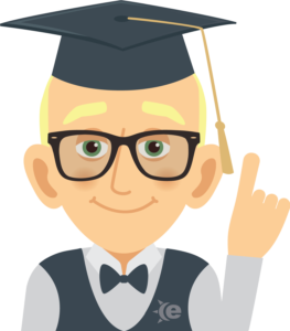 Cartoon guy with graduation hat