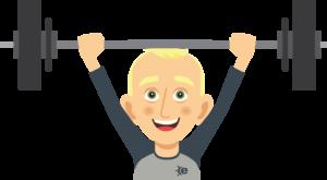 cartoon man (Andy Avatar) lifting weights